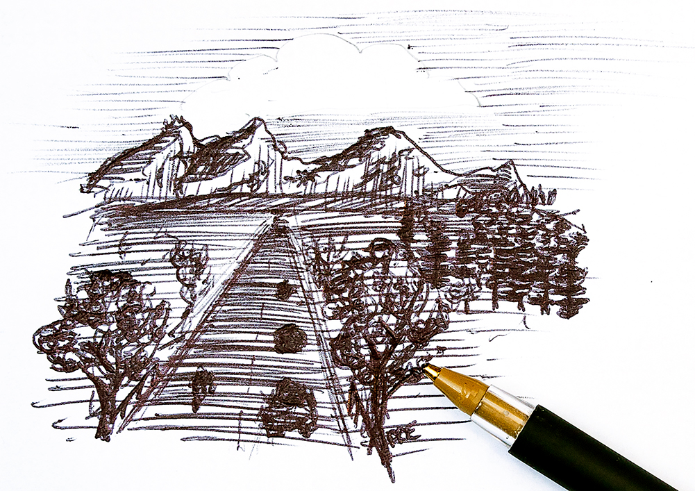 Doodling with a ballpoint pen on an enveloper. Draw everywhere!