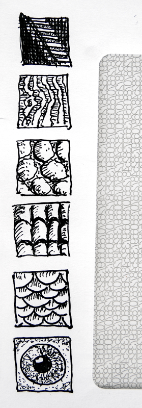 Practice squares on a utility bill envelope. Any paper is drawing paper for pen and ink artwork!