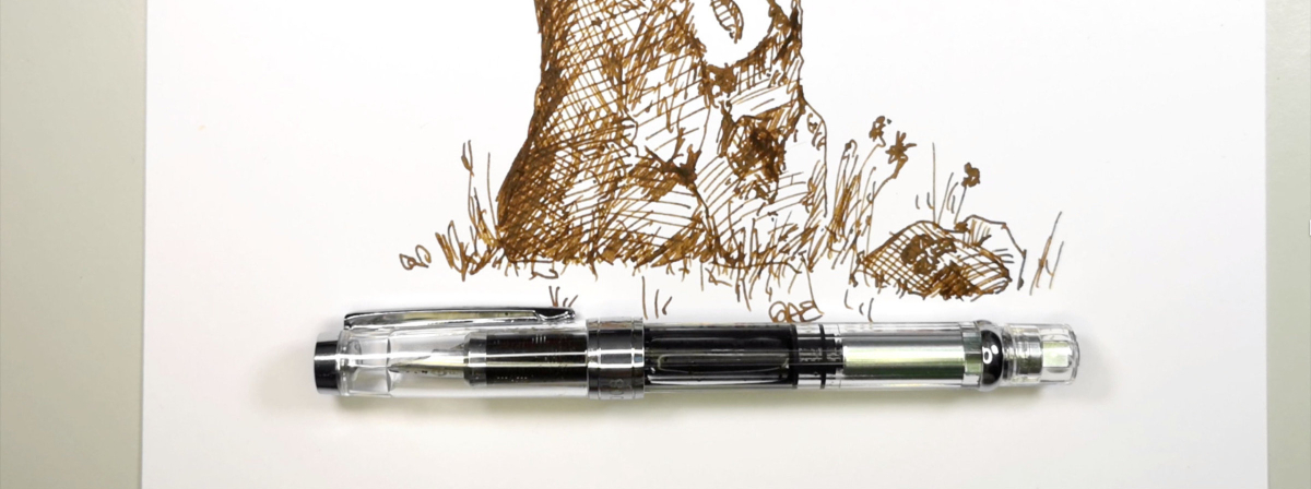 WingSung 3008 fountain pen with a doodle of a rock pillar