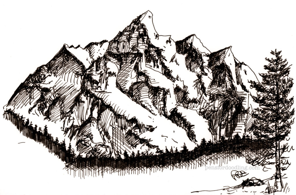 A random mountain doodle drawn with the Lamy LX Marron Special Edition